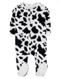 Leveret Fleece Baby Boys Girls Footed Pajamas Sleeper Kids & Toddler Christmas Pajamas (3 Months-5 Toddler) (3-6 Months, Cow Black/White)