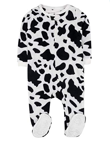 Leveret Footed Fleece Sleeper Pajama (2 Toddler, Cow Black) -