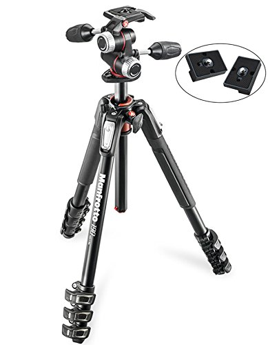 Manfrotto MK190XPRO4-3W Aluminum Tripod with 3-Way Pan/Tilt Head and Two ZAYKiR Quick Release Plates for the RC2 Rapid Connect Adapter