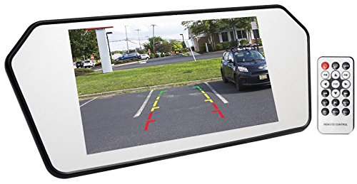 Rockville R7CB Real Metal Rearview Car Mirror with Monitor, Bluetooth/USB/SD, 7