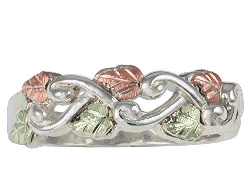 Grape Leaf and Vine Design Band, Sterling Silver, 12k Rose and Green Gold Black Hills Gold Motif, Size -