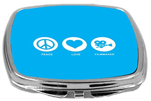 Rikki Knight Peace Love Filmmaker Design Compact Mirror, Sky Blue, 2 Ounce