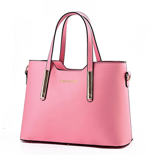 Fashion Road Genuine Leather Womens Shoulder Bags Top-Handle Handbag Tote Purse Bag Pink
