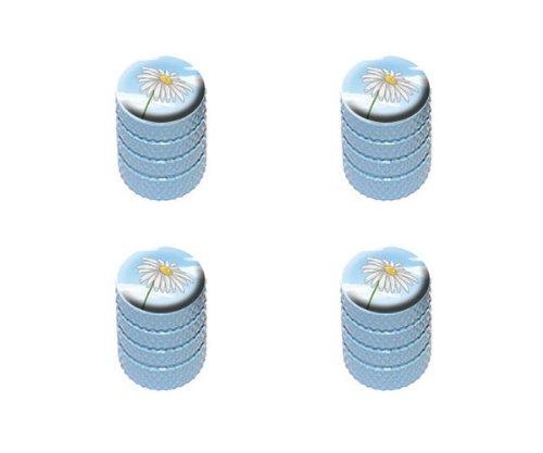 Cap White Dome Light (White Daisy on Blue Sky - Flower Tire Rim Wheel Aluminum Valve Stem Caps - Light Blue Color)