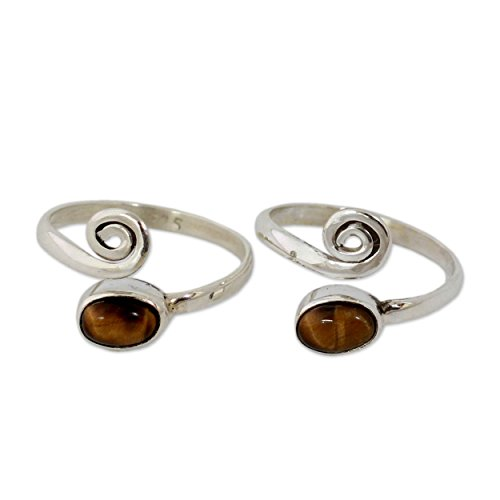 (NOVICA .925 Sterling Silver and Tiger's Eye Adjustable Toe Rings, Insight' (Pair, One Size))