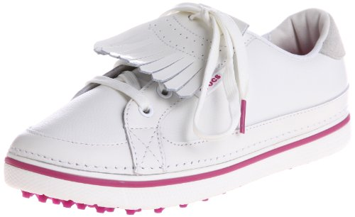 Crocs Women's Bradyn Golf Shoe,White/Fuchsia,4 M US