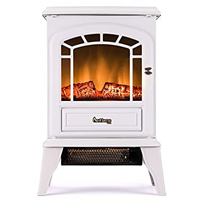 Aspen Free Standing Electric Fireplace Stove - 23 Inch Portable Electric Vintage Fireplace with Realistic Fire and Logs. Adjustable 1500W 400 Square Feet Space Heater Fan