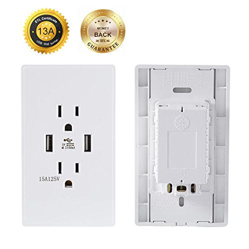 Node Communications Server (USB Wall Socket, Receptacle, ACEHE High Speed Dual USB Charger Outlet (White))