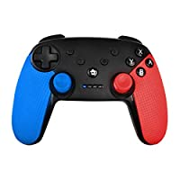 Bonadget Wireless Switch Controller for Nintendo Switch/Switch Lite with Turbo and Dual Vibration (Black+Blue+Red)