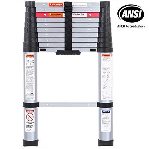 Lionladder 10.5FT ANSI Pinch-Free telescoping Slow-Down Ladder Aluminum Stretch High Multi-Purpose Telescopic -
