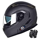 Motorcycle Bluetooth Helmets, FreedConn Flip up Dual Visors Full Face Helmet,Built-in Integrated Intercom Communication System(Range 500M,2-3Riders Pairing,FM radio,Waterproof,L,Gray)