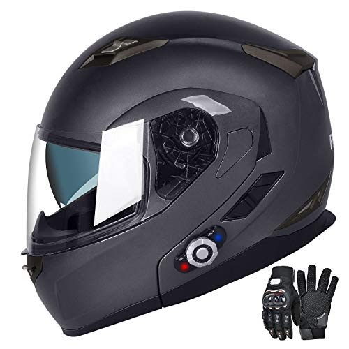 Motorcycle Bluetooth Helmets, FreedConn Flip up Dual Visors Full Face Helmet,Built-in Integrated Intercom Communication System(Range 500M,2-3Riders Pairing,FM radio,Waterproof,L,Gray) (Best Bluetooth Modular Motorcycle Helmet)
