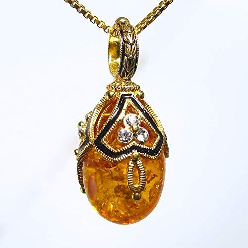 Sterling Silver Necklace Amber Egg Pendant Swarovski Crystal Enamel 24k Gold-plated Chain