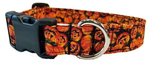 Jack o Lantern Dog Collar Halloween pumpkin orange Fall Harvest trick or treat costume puppy Pumkin cotton Fabric XL L S XS Mini Small Extra ()