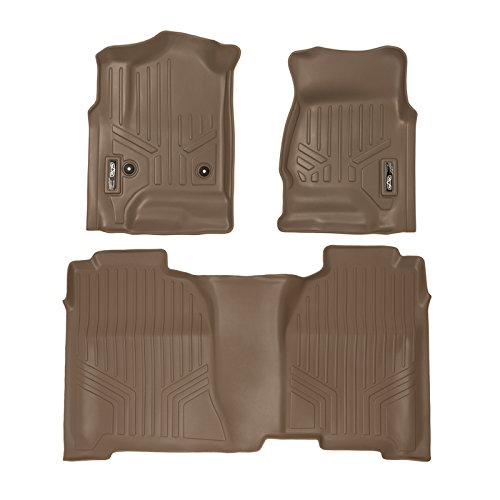 SMARTLINER Floor Mats 2 Row Liner Set Tan for Crew Cab 2014-2018 Silverado/Sierra 1500 - 2015-2019 2500/3500 HD
