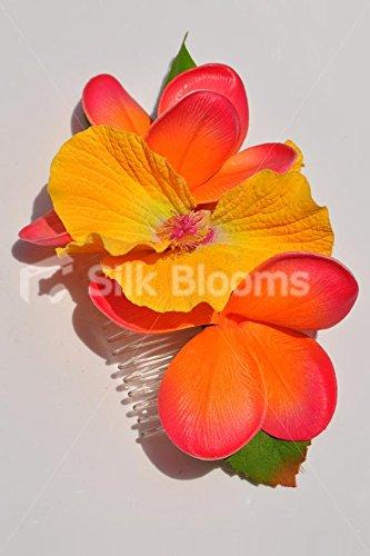 Silk-Blooms-Ltd-Stunning-Orange-Frangipani-and-Yellow-Tropical-Artificial-Flower-Hair-Accessory