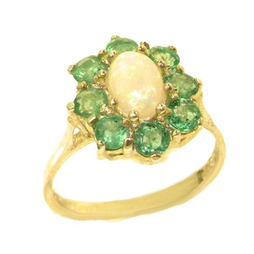 14k Yellow Gold Natural Opal and Emerald Womens Cluster Ring - Sizes 4 to 12 (Gold Opal Emerald Ring)