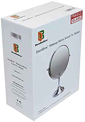Decobros 8-inch LARGE Tabletop Two-sided Swivel Vanity Mirror with 7x Magnification, 13-inch Height