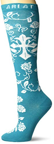 Ariat Women's Cross Comfort Knee High Socks Blue O/S
