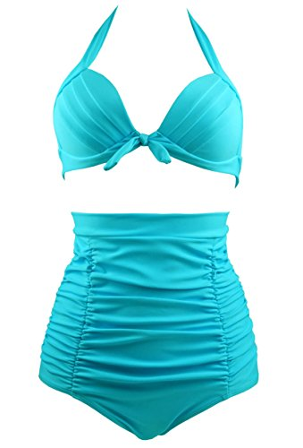 Cocoship-Solid-Black-Elegant-Vintage-High-Waisted-Bikini-Swimsuits-SwimwearFBA