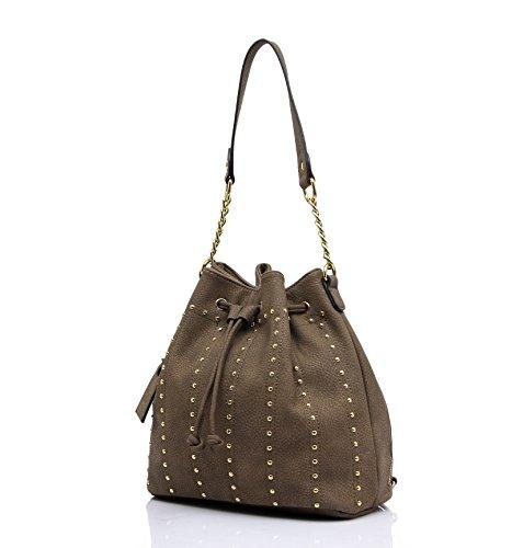 Siena Chic Studded Drawstring Bucket Bag (Coffee) Studded Drawstring