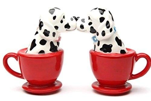 Dalmatian Dog Figurine (ShopForAllYou Figurines and Statues Kissing Dalmatian Dogs in Tea Cup 3.5'' Tall Magnetic Salt and Pepper Shaker Set)