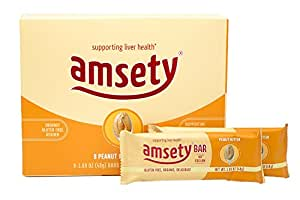 Amsety Nutrition Bars, Peanut Butter, Supports Liver Health, Includes Super 16 Vitamins, 0g Sodium, Organic, Gluten-Free, 1.69oz (Pack of 8 Bars)