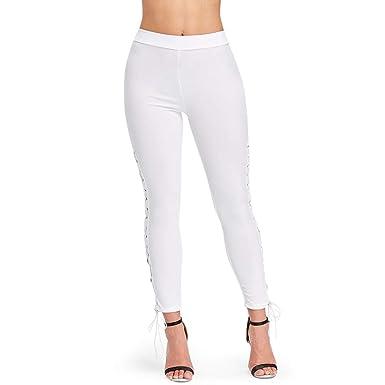 0078d596c03 Amazon.com  EbuyChX Lace Up High Waisted Leggings White XL  Clothing