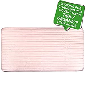 Organic Changing Table Cover GOTS Certified Organic Cotton Changing Pad Cover Hypoallergenic Non Toxic Breathable Water Resistant Ultra Soft Unisex Change Pad Cover for Baby Girl (16×32, Pink)