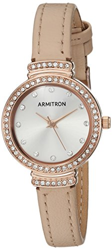 Armitron Women's 75/5491SVRGBH Swarovski Crystal Accented Rose Gold-Tone and Blush Pink Leather Strap Watch