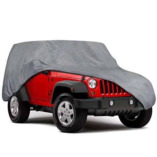 Motor Trend Outdoor Car Cover for Jeep Wrangler 2 Door - All Weather Protection SUV Waterproof Cover