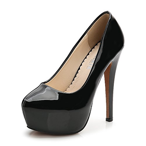 (Women's Round Toe Platform Slip On High Heel Dress Pumps Patent Leather Black Tag 42 - US B(M) 10)