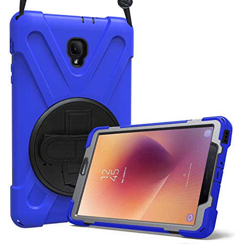 ProCase Samsung Galaxy Tab A 8.0 2017 T380 T385 Case, Rugged Heavy Duty Shockproof Rotating Kickstand Protective Cover Case for Galaxy Tab A Tablet 2017 T380 T385 -Navy (Rubber Cover Case Film)
