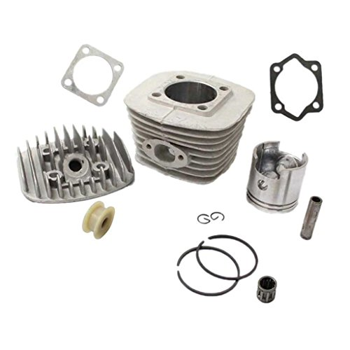 Engine Cylinder Piston - HURI 47mm Cylinder with Piston Head Bottom Gasket Pulley Chain Tensioner Roller for Motorized Bicycle Bike 80cc 2 Stroke Engine