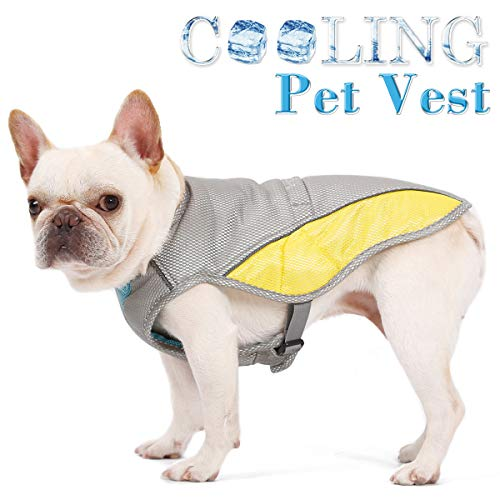 FOREYY Dog Cooling Vest with Adjustable Side Straps and Harness Attachment Hole, Reflective Pet Cooler Jacket Clothes for Small Medium Large Dogs (M) (Best Cooling Jacket For Dogs)