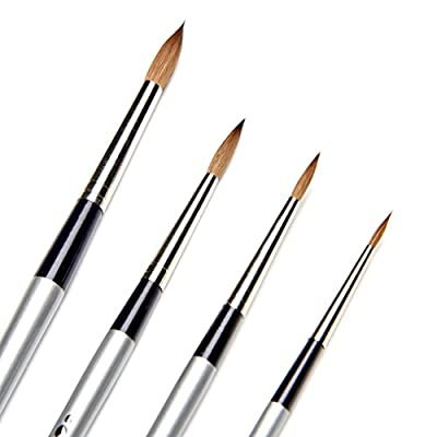 AIT Art Select Paint Brush Set - 4 Pure Russian Red Sable Round Paint Brushes - Handmade in Germany Set for Superior Results with Oil, Acrylic, and Watercolors