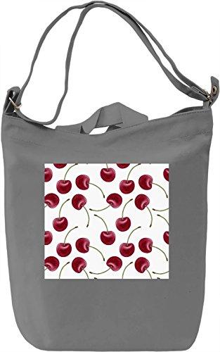 Cherry Print Borsa Giornaliera Canvas Canvas Day Bag  100% Premium Cotton Canvas  DTG Printing 