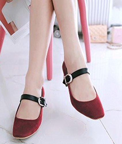 Idifu Kvinna Elegant Fyrkantig Tå Bucklig Rem Mitten Klossklackar Låg Topp Pumpar Mary-jane Shoes Red