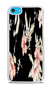 Vintage Pink and White flowers on Black Background White Hardshell Case for iPhone 5C