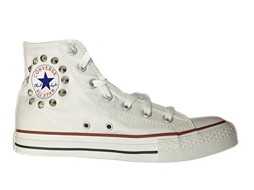 Converse all star HI (alta) personalizzate con borchie argento/ cono basso Bianco optical white