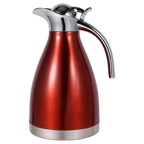 Fdit 1.5L/2L Coffee Tea Pot Stainless Steel Double Wall Vacuum Insulated Pot Thermo Jug Hot Water Bottle(Red 2L) (Red Insulated Beverage Server)