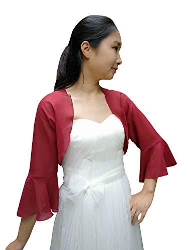 YuRongsxt Jacket Shawl Chiffon Bolero 3/4 Bell Sleeve Shrug Prom wrap Bridal Sheer Cover up C11 (Burgundy, XXL)
