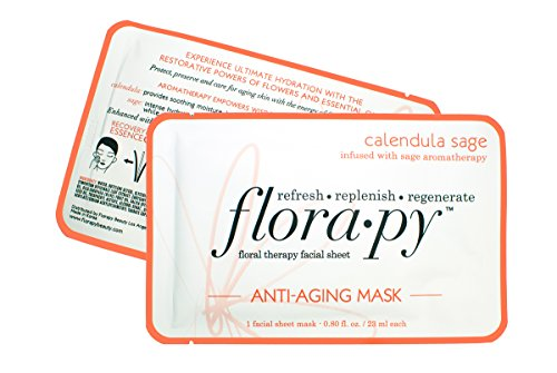 Aromatherapy Facial Sheet Mask - Hydrating - Essential Oils - Anti Aging Calendula Sage by Florapy (Essential Mask Sheet)