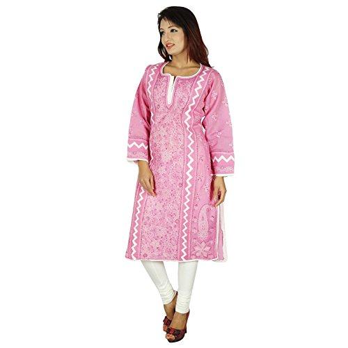 Diseñador indio de Bollywood Kurta Mujeres étnico Kurti vestido de la túnica casual Rosa y del blanco-3