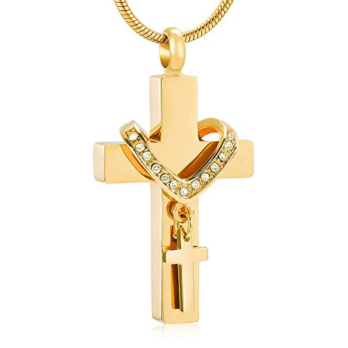 Stainless Steel Cross Memorial Cremation Ashes Urn Pendant Necklace Keepsake Jewelry Urn (Gold Color)