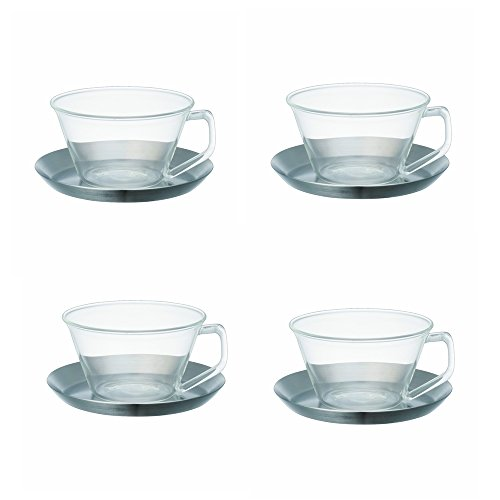 KINTO CAST tea cup &saucer stainless steel, Set of 4 by Kinto