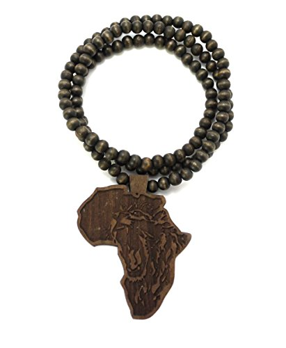 MENS AFRICA MAP WOOD LION AFRICAN WOODEN BEAD CHAIN NECKLACE (Brown) by Shiny Jewelers USA