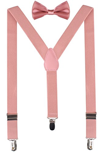 BODY STRENTH Baby Pink Bow Tie for Girls Boys Suspenders and Bowties 26 Inches (3yrs - 9yrs) Peach - Peach Toddler Bow Tie