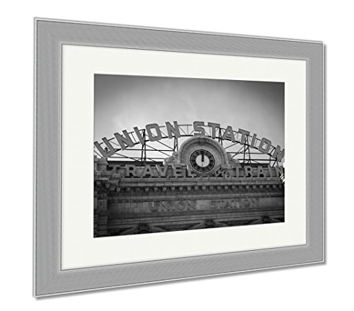 Ashley Framed Prints Union Station In Denver Colorado, Wall Art Home Decoration, Black/White, 34x40 (frame size), Silver Frame, - Station Shops Denver Union