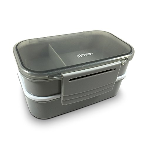 effiliv bento box lunch boxes food containers stackable gray home garden kitchen dining. Black Bedroom Furniture Sets. Home Design Ideas